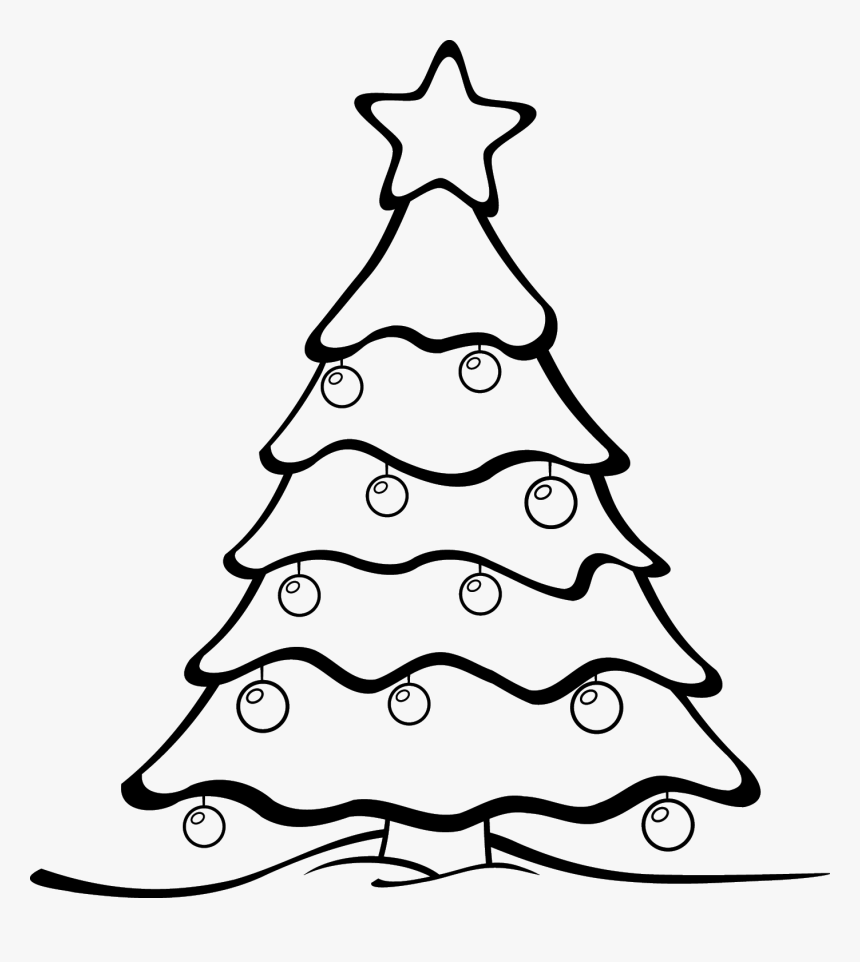 Xmas Tree Ornament Png Black And White - Colour In Christmas Tree, Transparent Png, Free Download