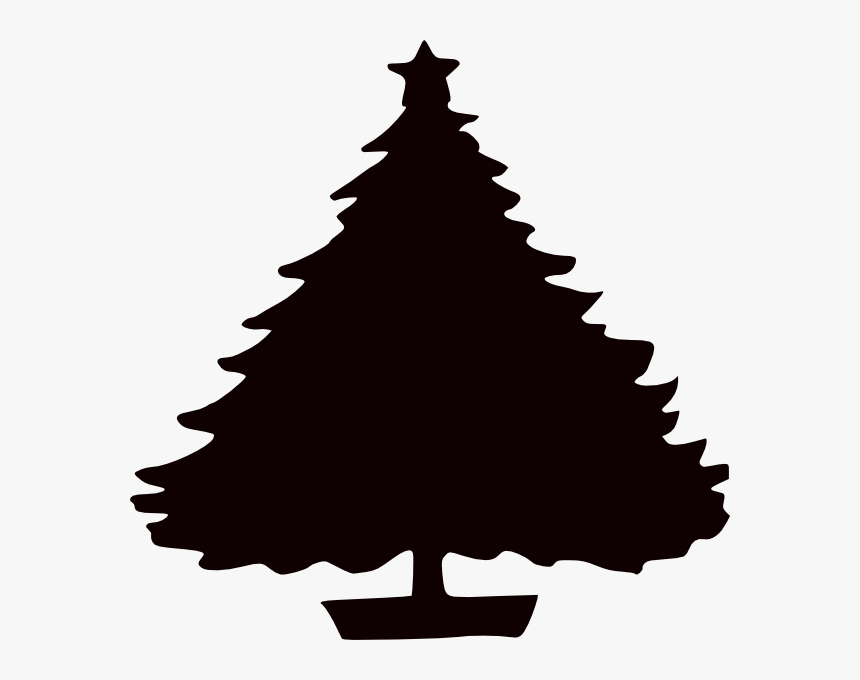 Clip Art Women Christmas Tree Gift Clip Art - Christmas Tree Clipart Black, HD Png Download, Free Download