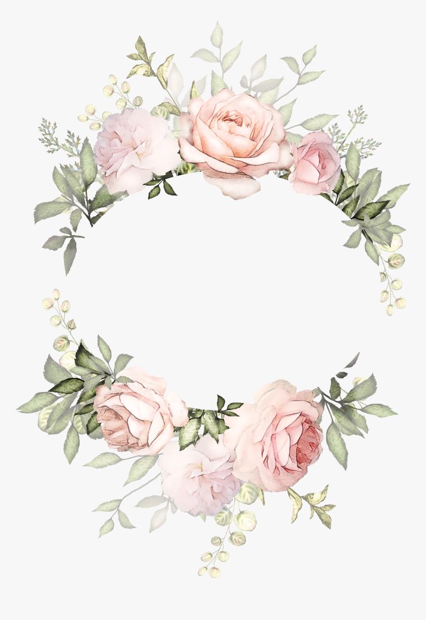 Flower Wreath Illustration Design Invitation Floral - Watercolor Flower Frame Png, Transparent Png, Free Download