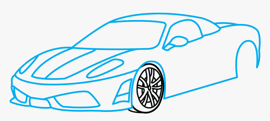 How To Draw Ferrari 360, A Sports Car, Easy Step By , Step