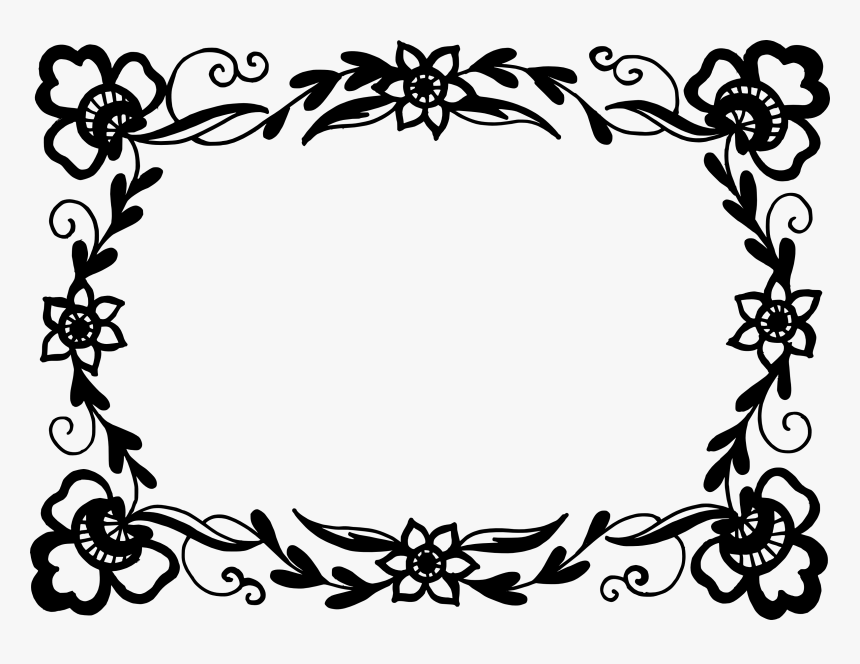 Flowers Frame Black And White, HD Png Download, Free Download