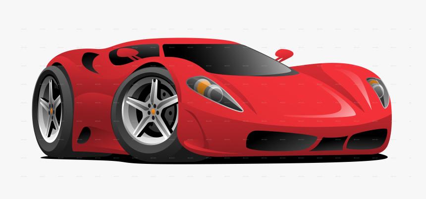 Red Sportscar Red Sportscar Sports Car Cartoon - Cartoon Red Sports Car, HD Png Download, Free Download