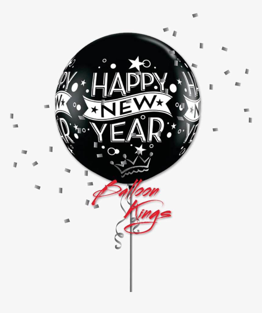 30in Latex Black New Year Confetti - Happy New Year Balloon Latex Gold, HD Png Download, Free Download