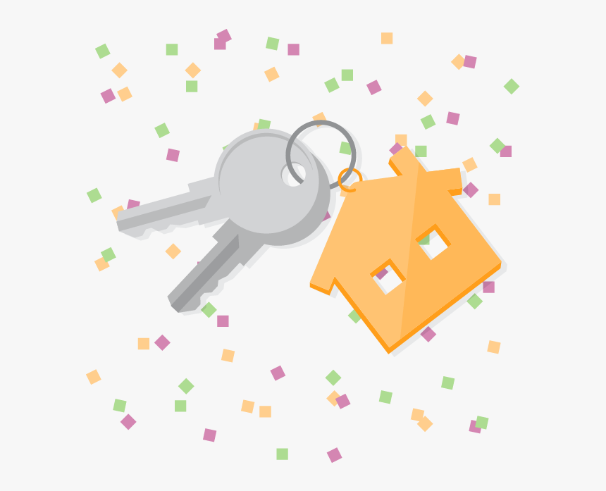 """House Keys With New Year""""s Confetti In Background - New Year New Home, HD Png Download, Free Download"""