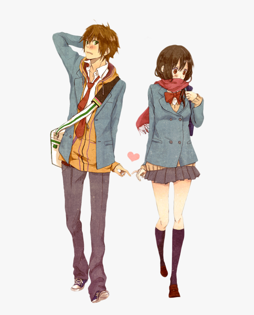 Transparent Anime Boy Png - Shy Anime Girl And Boy, Png Download, Free Download