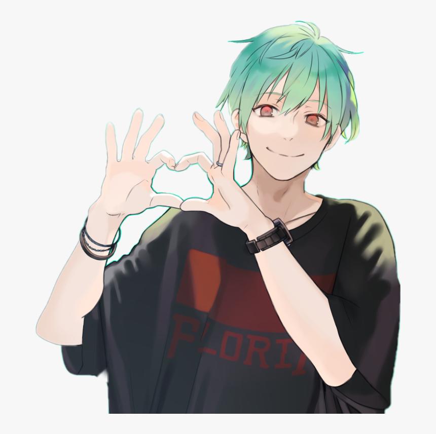 #anime #art #fanart #manga #boy #minty #cute #heart - Cute Anime Boy Smile, HD Png Download, Free Download