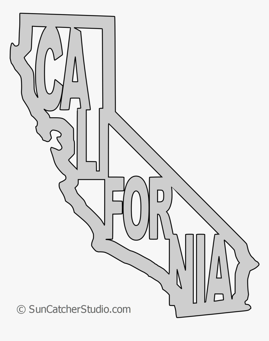 California Map Shape Text, Outline Scalable Vector - Vector California Map Outline, HD Png Download, Free Download