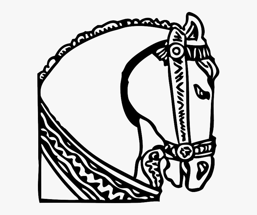 Head, Decorated, Silhouette, Cartoon, Horse, Heads - Horse Head Clip Art, HD Png Download, Free Download
