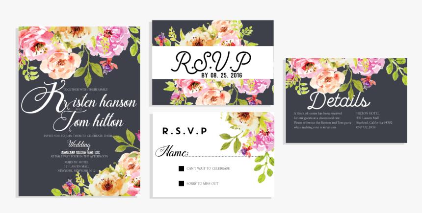 Elegant Floral Invitation Set Wedding Invitation Card - Elegant Flower Wedding Invitation, HD Png Download, Free Download