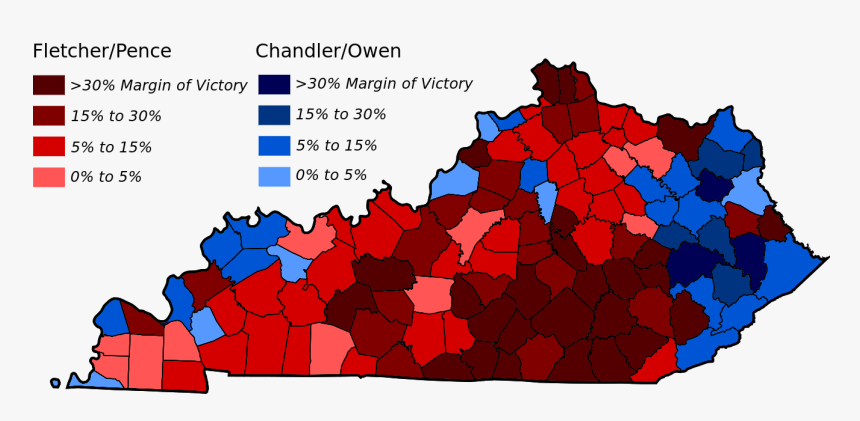 2003 Kentucky Gubernatorial Election Counties - Kentucky Election Results 2019 By County, HD Png Download, Free Download