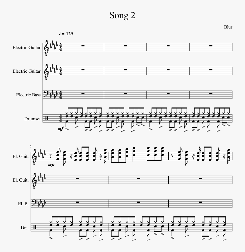 Song 2- Blur Sheet Music For Bass, Guitar, Percussion - Blur Song 2 Gittarennotes, HD Png Download, Free Download