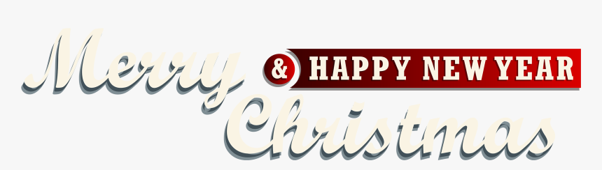 Merry Christmas And New Year Red Text Decor Png Clipart - Merry Christmas And Happy New Year Text Png, Transparent Png, Free Download