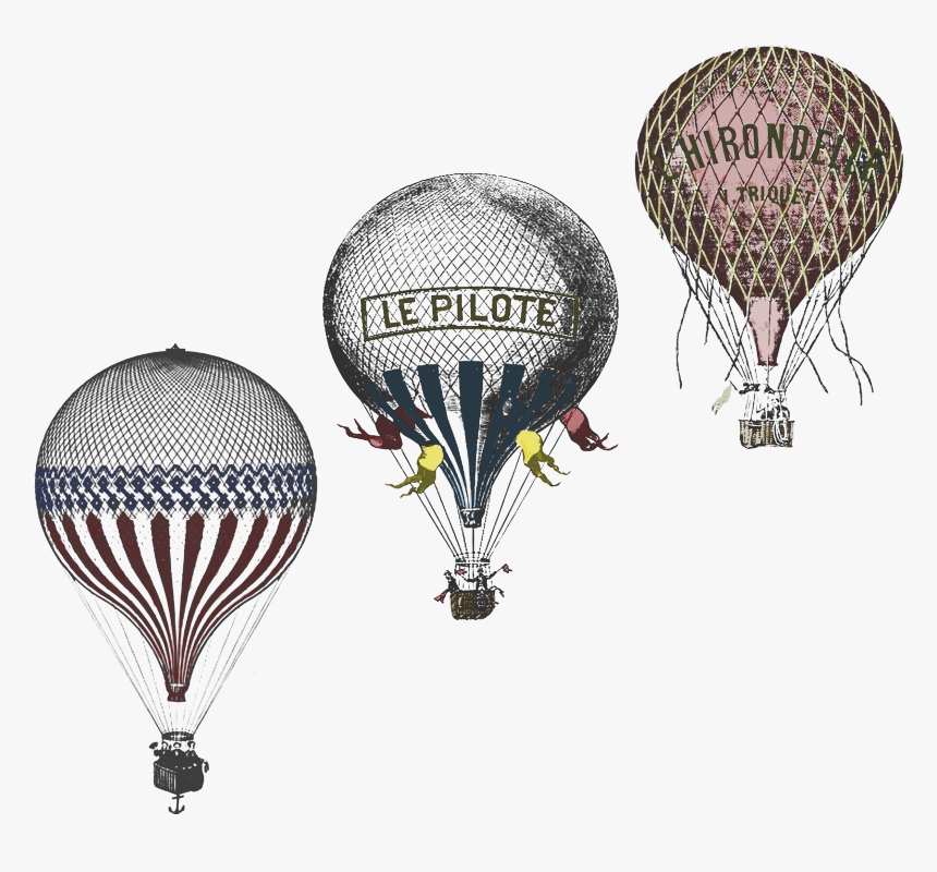 Clip Art Antique Race Design By - Vintage Hot Air Balloon Drawing Old, HD Png Download, Free Download