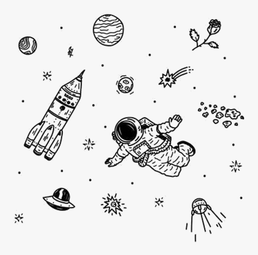 Aesthetic Space Tumblr Sticker Moon Stars Astrology - Aesthetic Drawings Outer Space, HD Png Download, Free Download