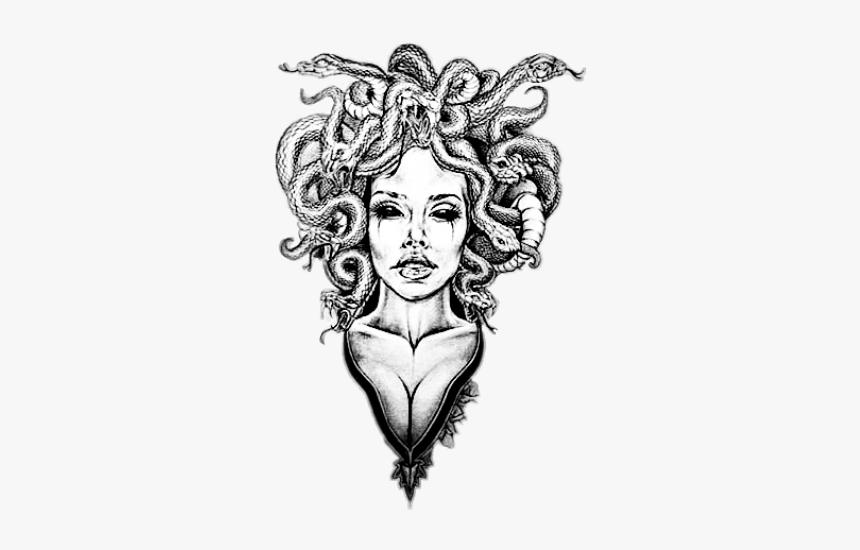 #medusa #medusatattoo #snakes #tattoodesign #tattoo - Sketch Medusa Tattoo Design, HD Png Download, Free Download