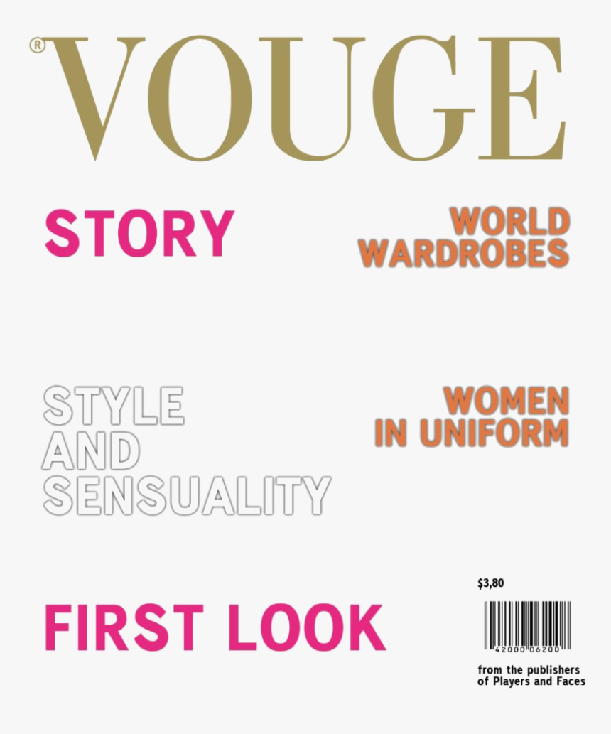 Vogue Magazine Cover - Magazine Cover Templates Png, Transparent Png, Free Download