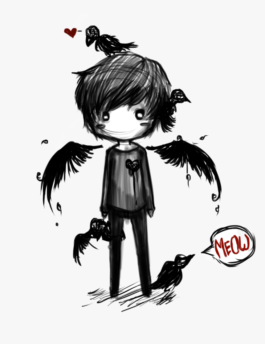 "Please Adopt Aaron,he""s A Fallen Angel And An Outcast,crows - Dark Angel Anime Boy, HD Png Download, Free Download"