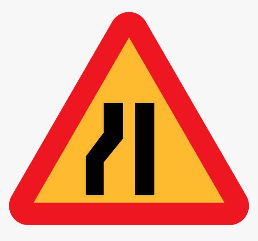 Road Narrows On Left,roadsign,road Sign,traffic Sign,highway - Temporary Road Closed Sign, HD Png Download, Free Download