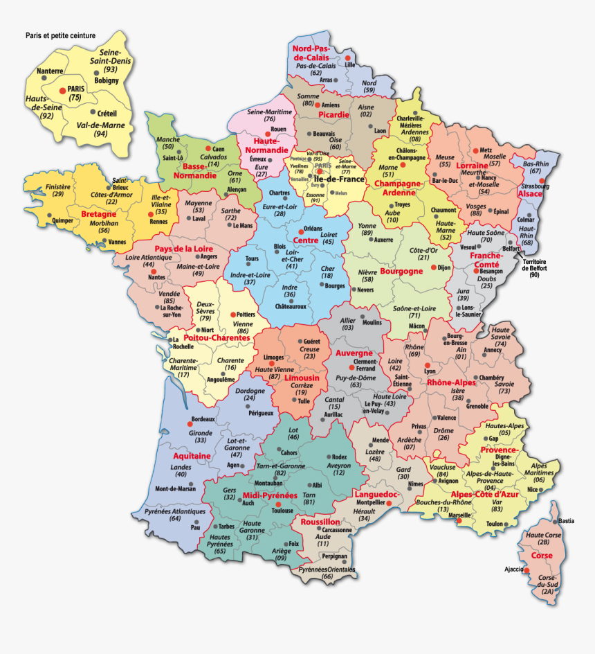 Carte France-webcams - French Departments, HD Png Download - kindpng