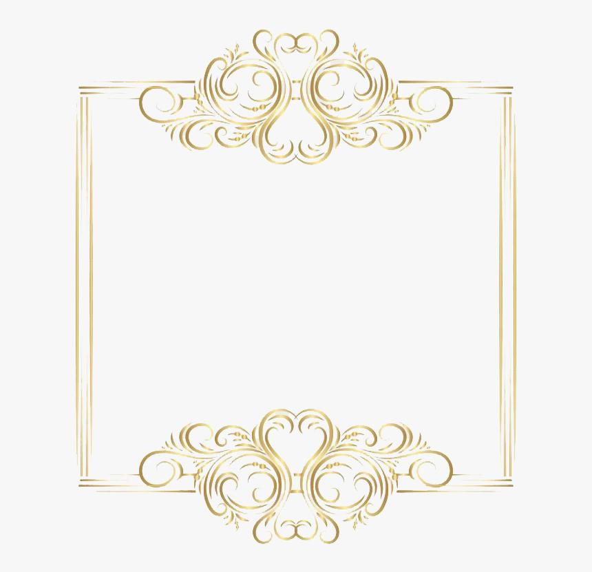 Golden Border Art Png File - Png Border Design Gold Color, Transparent Png, Free Download