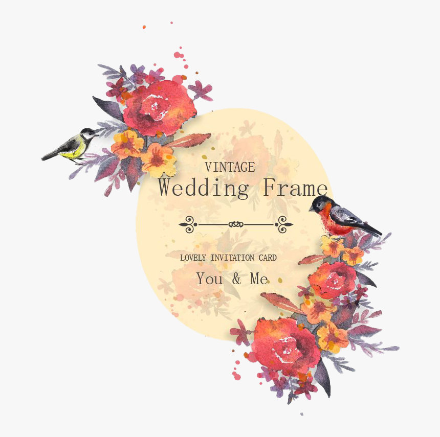 Wedding Card Png Clipart - Wedding Invitation Card Watercolor Flower, Transparent Png, Free Download