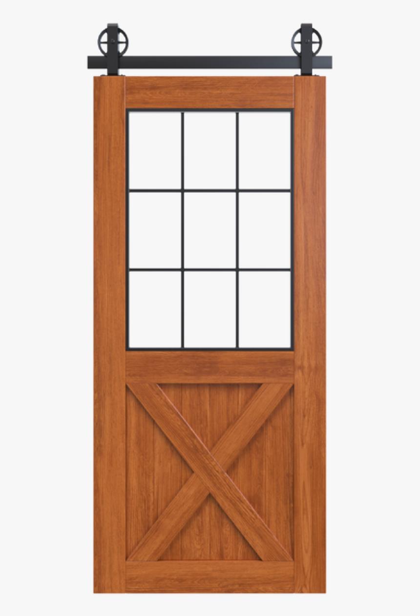 Wood Frame Barn Door Half X Panel With Glass Window, HD Png Download, Free Download