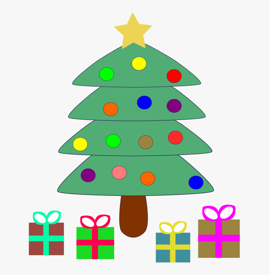 Christmas, Tree, Xmas, Decorated, Festive, Pine - Cartoon Christmas Tree With Presents, HD Png Download, Free Download