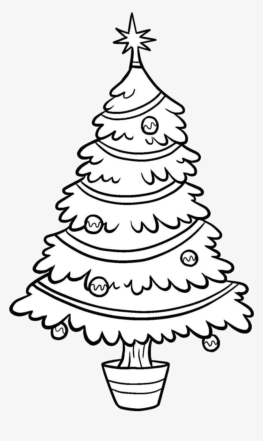 Printable Paper Christmas Tree - Transparent Christmas Tree Black And White Clipart, HD Png Download, Free Download