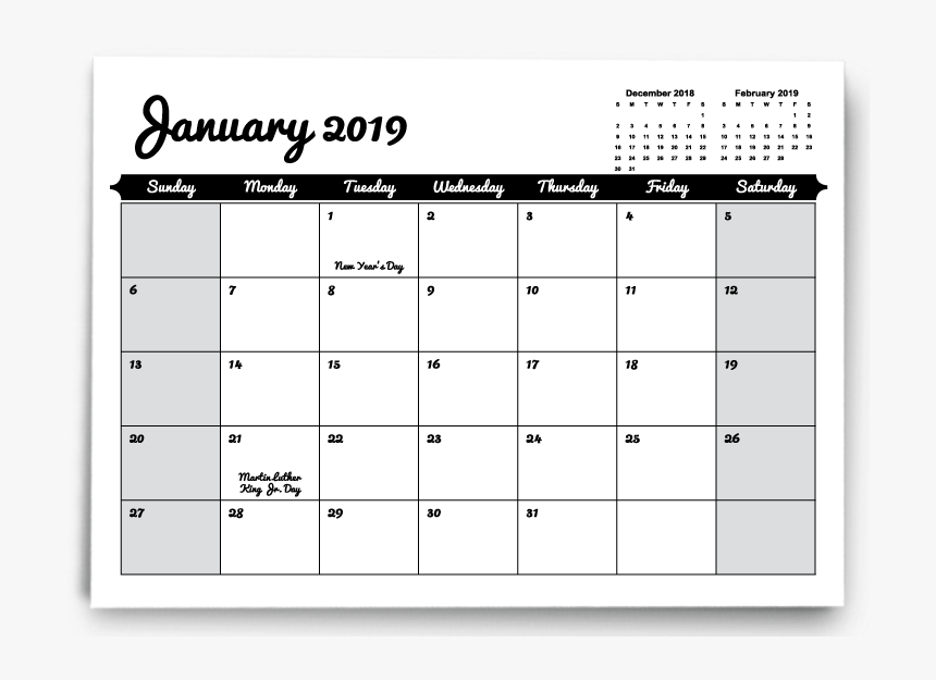 2019 2020 Calendar With Holidays, HD Png Download, Free Download