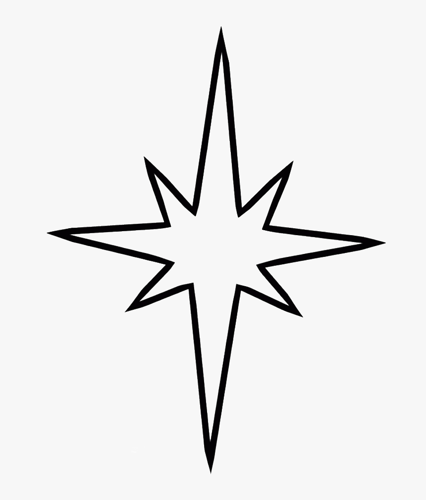 Simple Christmas Tree With Star Coloring For Kids - Nativity Star Coloring Page, HD Png Download, Free Download