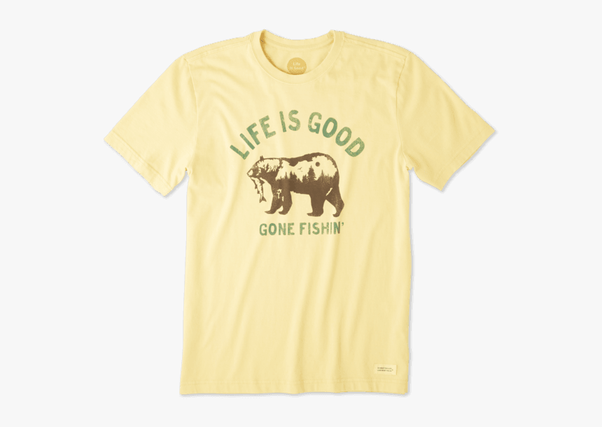 "Men""s Gone Fishing Bear Crusher Tee - Grizzly Bear, HD Png Download, Free Download"