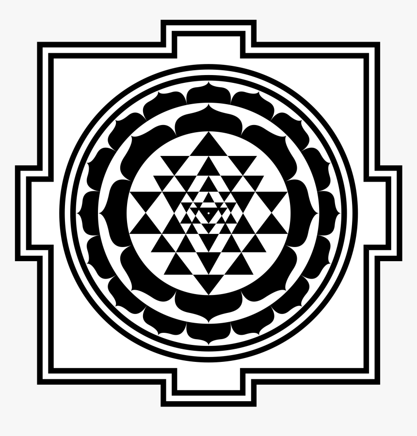 Drawing Trippy Sacred Geometry - Shri Yantra Black And White, HD Png Download, Free Download