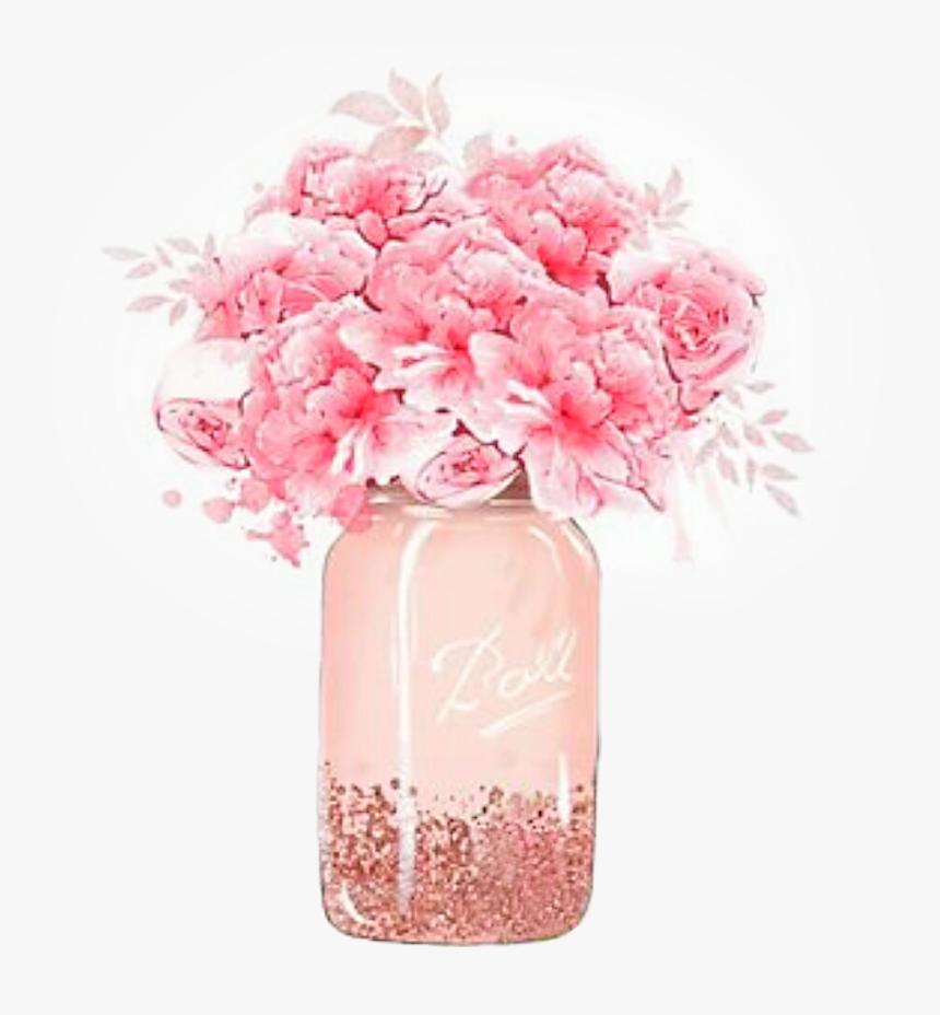 #watercolor #handpainted #vase #masonjar #flowers #pastel - Bouquet, HD Png Download, Free Download