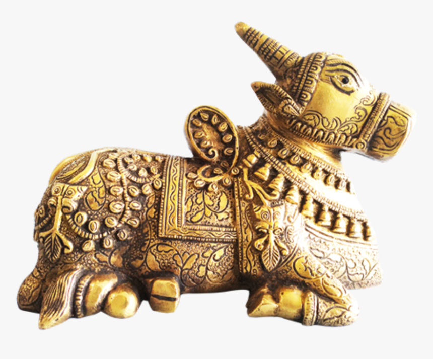 Hand Curved Sitting Nandi Brass Statue , 8 X 6 Inch, - Bronze Sculpture, HD Png Download, Free Download