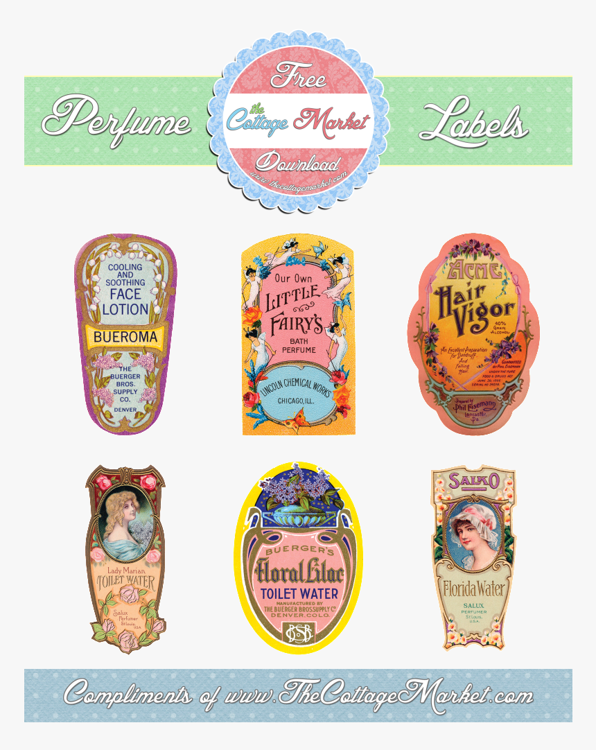 Perfumelabels Thecottagemarket Giveaway 1 Picture By - Print Label Free Perfume, HD Png Download, Free Download