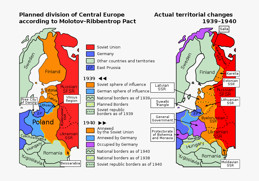 Planned And Actual Territorial Changes In Central Europe - Molotov Ribbentrop Pact, HD Png Download, Free Download