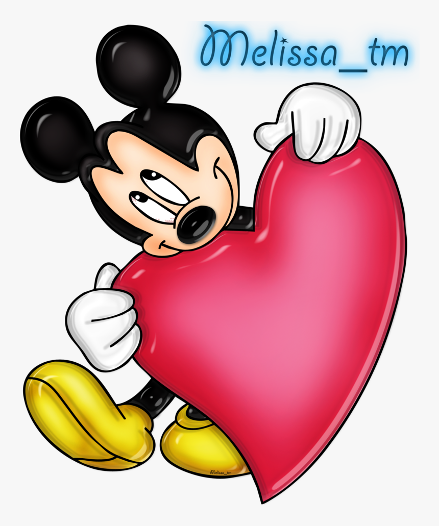 Mickey Mouse Clipart Heart - Mickey Mouse With Heart, HD Png Download, Free Download