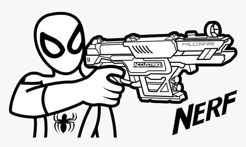 Nerf Gun Coloring Pages Photos Of Pretty Guns Arilitv - Nerf Gun Coloring  Pages, HD Png Download - Kindpng