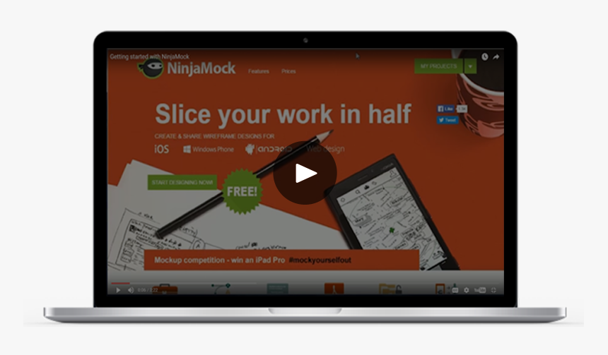 Video Demonstrating How To Make Wireframes In Ninjamock - Mockup Web Video, HD Png Download, Free Download