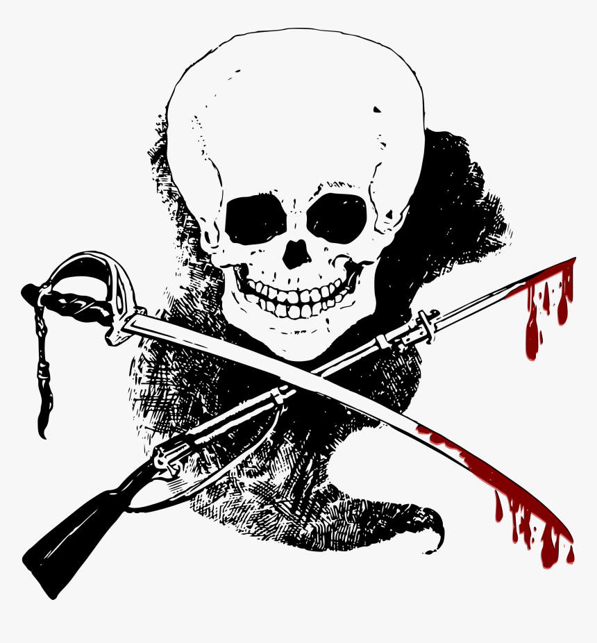 Skull, Gun, Sword And Blood Clip Arts - Sword With Blood Clipart, HD Png Download, Free Download