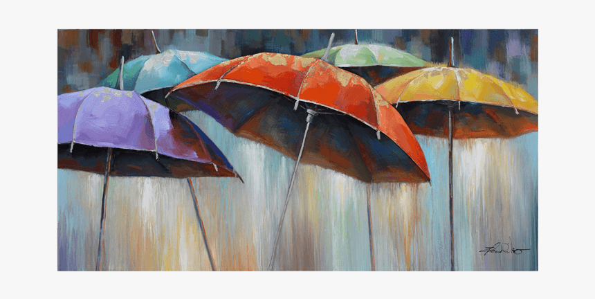 Rain And Umbrella Paintings, HD Png Download, Free Download