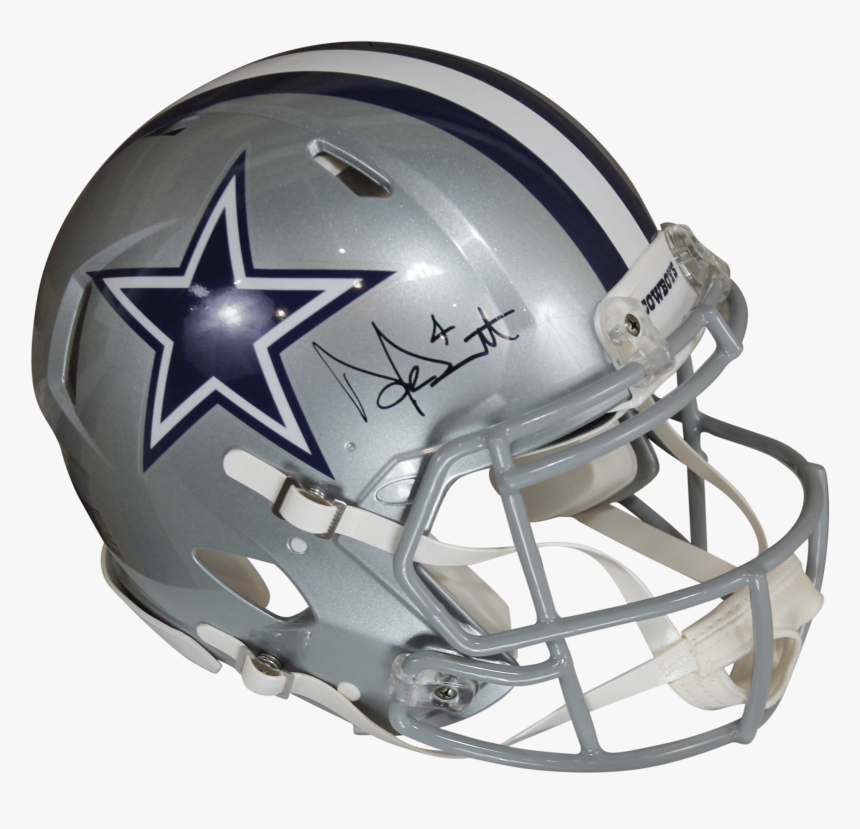Dak Prescott Autographed Dallas Cowboys Silver Riddell - Dallas Cowboys Helmet, HD Png Download, Free Download