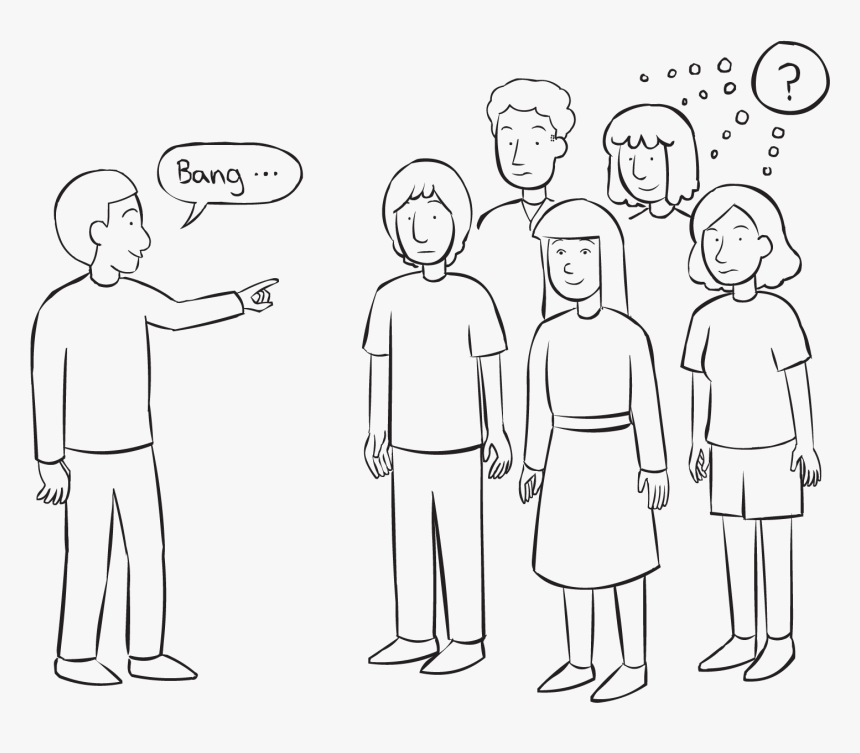 One Person Pointing To A Group Of People Playing A - One Person Pointing At A Group, HD Png Download, Free Download