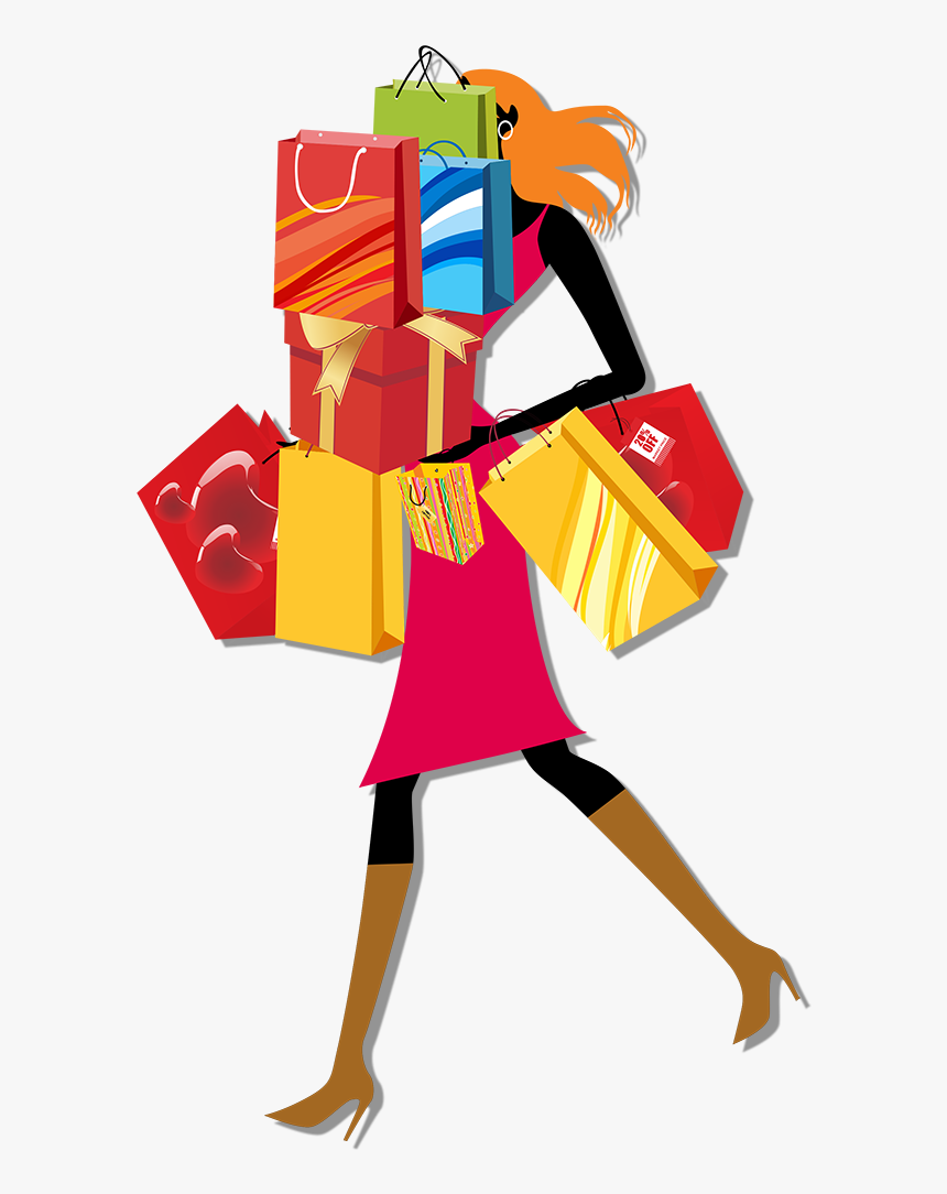 Vector Library Library Bag Woman Clip Art Urban Women - Cartoon Shopping Bags Clipart, HD Png Download, Free Download