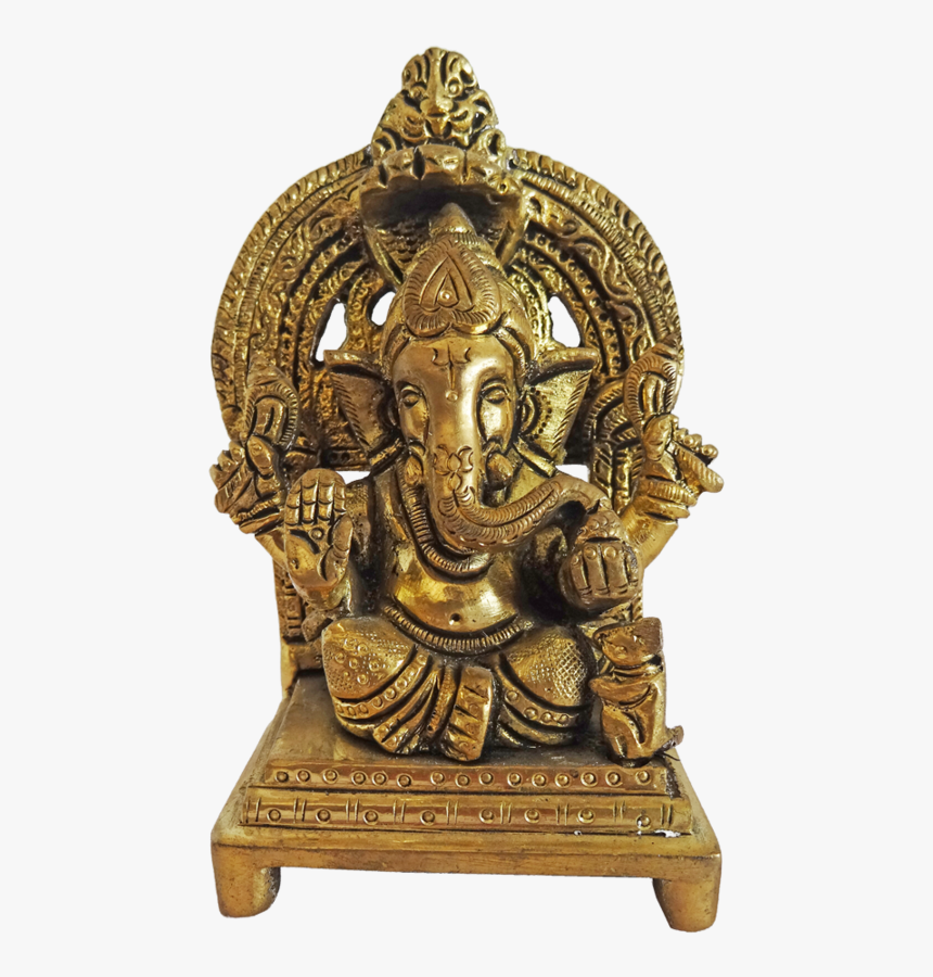 Antique Lord Ganesha With Small Mouse Brass Statue, - Bronze Sculpture, HD Png Download, Free Download