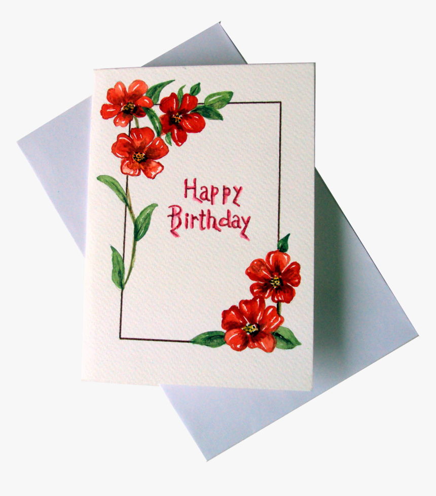 Red Flowers Happy Birthday Greeting Card - Happy Birthday Greeting Card Painting, HD Png Download, Free Download