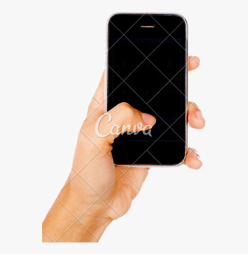 Transparent Person On Cell Phone Clipart - Hand Holding A Mobile Phone, HD Png Download, Free Download