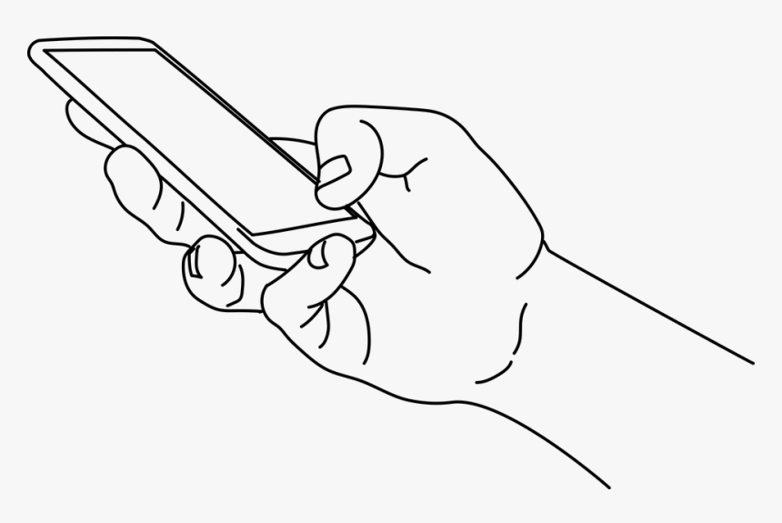 Mobile Phone Hand Drawing Png, Transparent Png, Free Download