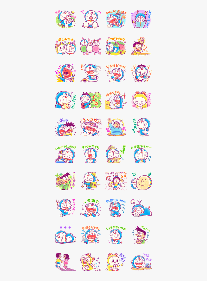 Doraemon Friendly Greetings Line Sticker Gif & Png, Transparent Png, Free Download