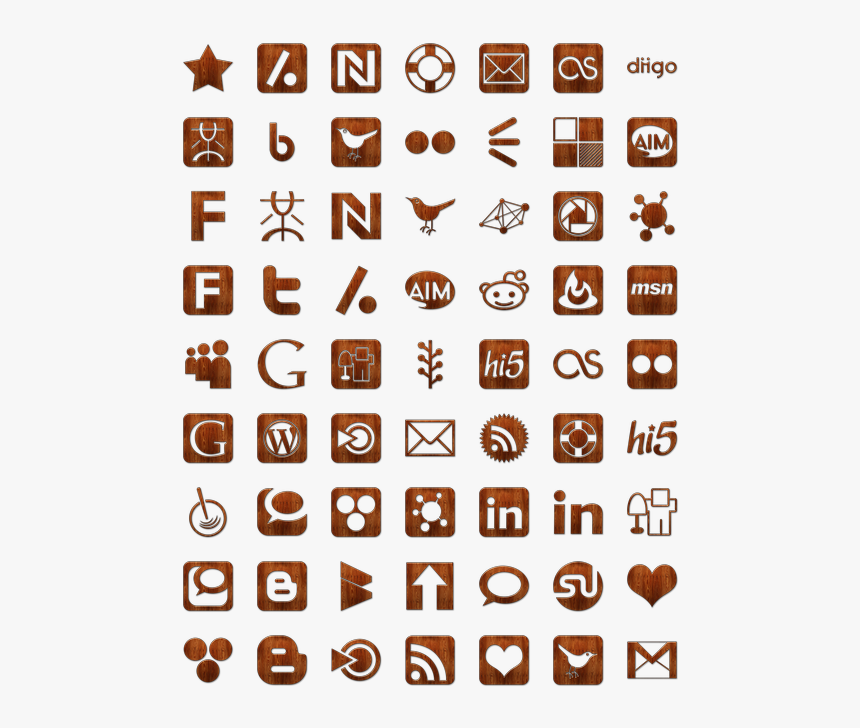 Wood Social Networking Icon Pack By Webtreatsetc - Social Media Icons, HD Png Download, Free Download
